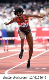 London, UK. 21 July, 2018. Shamier LITTLE wins the WOMEN'S 400M HURDLES at the IAAF Diamond League, Muller Anniversary Games.
