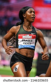 London, UK. 21 July, 2018. Shelly-Ann FRASER-PRYCE wins the 100M WOMEN at the IAAF Diamond League, Muller Anniversary Games.