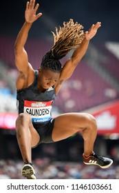 London, UK. 21 July, 2018. Sha'keela SAUNDERS competes at the IAAF Diamond League, Muller Anniversary Games.