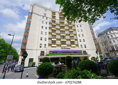LONDON, UK -21 MAY 2017- The landmark Dorchester is a luxury five-star hotel located on Park Lane in Mayfair, London.
