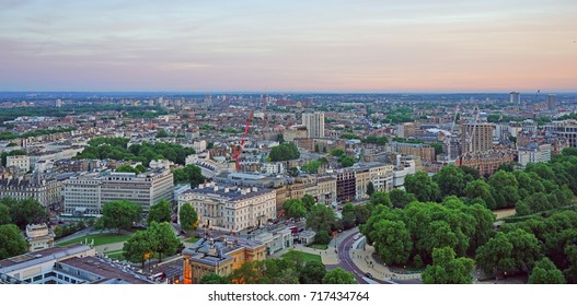 LONDON, UK -21 MAY 2017- View of Central London at sunset from the top of the Hilton Park Lane, a luxury skyscraper hotel overlooking Hyde Park in Mayfair, London.