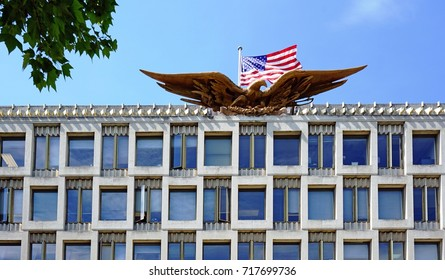 LONDON, UK -21 MAY 2017- The Embassy of the United States building in London. The current American embassy is located in Grosvenor Square, Mayfair. A new building is being constructed.