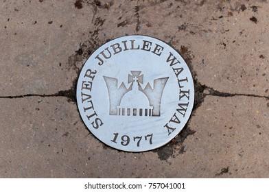 LONDON, UK - 21 November 2016: Silver Jubilee Walkway sign to commemorate the Silver Jubilee of Queen Elizabeth II Taken on 21 November 2016