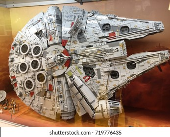 LONDON, UK - 21 SEPTEMBER 2017 - The new LEGO Millennium Falcon on display in the lego store in the Stratford Westfield.