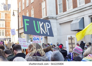 LONDON, UK. 21-01-2017: Banner at the Women's March on London, a march through central London to protest the inauguration of the president of the Usa Donald Trump.