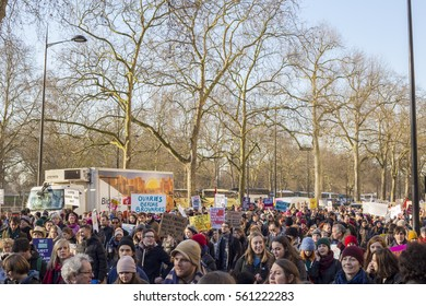 London, UK. 21-01-2017: Women's March on London, a protest through central London. Marches took place in cities around the world to protest the inauguration of the president of the Usa Donald Trump.