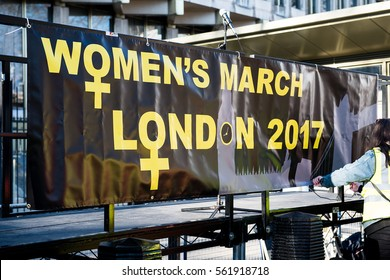 London, UK. 21st January 2017. EDITORIAL - An estimated 100,000 people took part in the Women's March / anti Donald Trump rally, through central London, as part of an international day of solidarity.