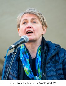 London, UK. 21st January 2017. EDITORIAL - Labour MP Yvette Cooper, speaking at the Women's March / anti Donald Trump rally, through central London, as part of an international day of solidarity.
