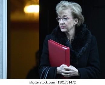 London, UK. 22 Januari, 2019. Andrea Leadsom, Leader of the House of Commons, Lord President of the Council, leaves the Cabinet Meeting, 10 Downing Street.
