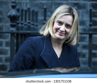 London, UK. 22 Januari, 2019. Amber Rudd, Secretary of State for Work and Pensions, leaves the Cabinet Meeting, 10 Downing Street.