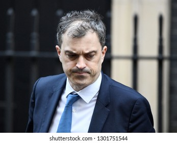 London, UK. 22 Januari, 2019. Julian Smith, Parliamentary Secretary to the Treasury (Chief Whip), leaves the Cabinet Meeting, 10 Downing Street.