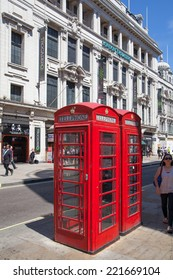 LONDON, UK - 22 JULY, 2014:  Red telephone box in London