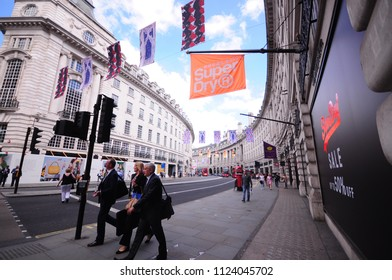 LONDON, UK. 22 June 2018 : View of Oxford Street where is a major road in the West End of London.