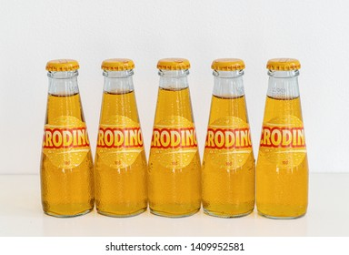 London, UK - 22 May 2019 - Row of crodino bottles. Crodino is an Italian non-alcoholic aperitif