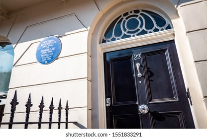 LONDON, UK - 22 OCTOBER 2019: An English Heritage blue plaque marking the historic home of British politicians Aneurin 'Nye' Bevan and Jennie Lee in Kensington, West London.