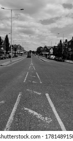 LONDON/ UK- 22nd July 2020: Road directions leading to junction, taken in black and white.