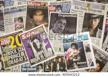London, UK. 22th April, 2016.British Newspaper Front Pages following the Death of Prince at his Paisley Park home, Minneapolis.
