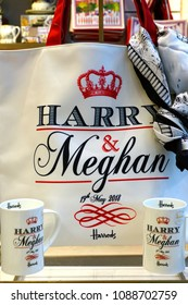 LONDON, UK -23 APR 2018- View of souvenir bags sold for the royal wedding of Prince Harry and American actress Meghan Markle to take place in May 2018.