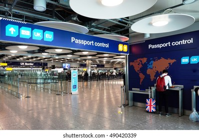 LONDON, UK -23 AUG 2016- The UK and European separate passport control and immigration lanes at London Heathrow International Airport (LHR). The UK is not part of Schengen.