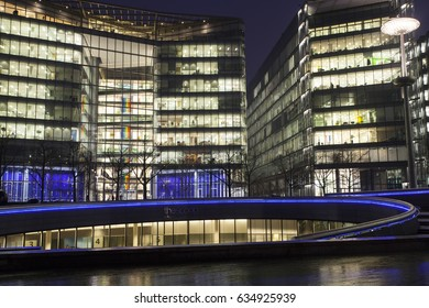 London, UK - 23 January 2017: The Shard, The City Hall and office buildings at night, London, UK