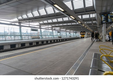 London, UK. 23rd December 2018. Thameslink rail service departing Blackfriars station in central London.