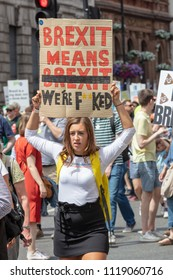 London, UK; 23rd June 2018; Female Pro-EU Proterster Holding Home-Made Placard with Anti-Brexit Message During March Down Whitehall on the Peoples Vote March