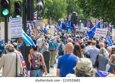 London, UK; 23rd June 2018; Rear View of Pro-EU Protersters Marching Down Whitehall on the Peoples Vote anti-Brexit March.