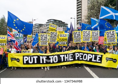 London, UK. 23rd March 2019. Thousands of protesters with placards gathered for the Put It To The People march, calling for a public vote on the government's final Brexit deal.