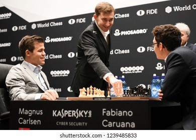 London, UK. 24 November, 2018. Sergey Karjakin makes the first move in the 11th game of Magnus Carlsen competing against Fabiano Caruana in the World Chess Championship.