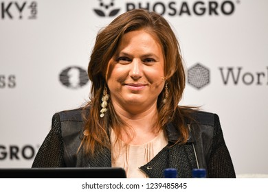 London, UK. 24 November, 2018. Judit Polgar as main commentator on Magnus Carlsen competing against Fabiano Caruana in the World Chess Championship.