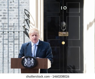 London UK. 24th July 2019. Boris Johnson, U.K. prime minister, delivers a speech outside 10 Downing Street. The Prime Minister Boris Johnson, promise to take Britain out of the European Union by 31st
