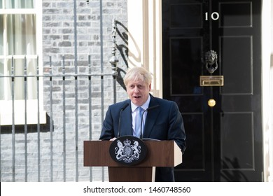 London UK. 24th July 2019. Boris Johnson, delivers a speech outside 10 Downing Street. Prime Minister Boris Johnson, promise to take Britain out of the European Union by 31st October.