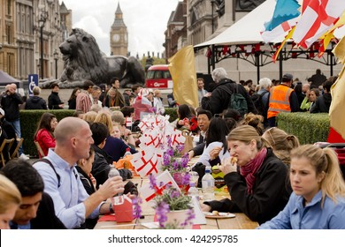 London, UK. 25th April 2015. EDITORIAL - The Feast of St. George 2015, held at Trafalgar Square, London, celebrates the St. George's Day's 13th century origins as a national day of feasting and fun.