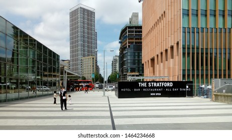 LONDON/ UK- 25th July 2019: New town planning design, in Stratford city, east London. Showing environmentally friendly walkway.