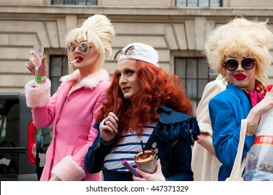 London, UK. 25th June 2016. EDITORIAL - London Pride 2016. Hundreds of people in fancy dress took part in the parade, while thousands lined the streets of London, to celebrate London Pride 2016.