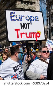 London, UK. 25th March 2017. EDITORIAL - Thousands gather for the UNITE FOR EUROPE rally, through central London, in protest against the British governments' BREXIT from the European Union.