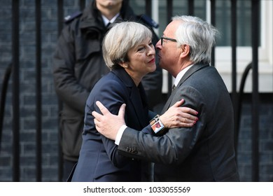 London, UK. 26 April, 2017. Prime Minister Theresa May hosts President of the European Commission Jean-Claude Juncker at 10 Downing Street.