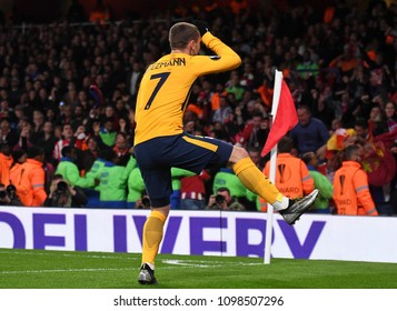 LONDON, UK - 26 APRIL, 2018: Antoine Griezmann celebrates after a goal scored during the UEL Semi-final between Arsenal FC and Atletico Madrid held at Emirates Stadium