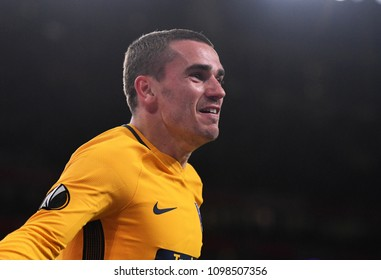 LONDON, UK - 26 APRIL, 2018: Antoine Griezman celebrates after a goal scored  during the UEL Semi-final between Arsenal FC and Atletico Madrid held at Emirates Stadium