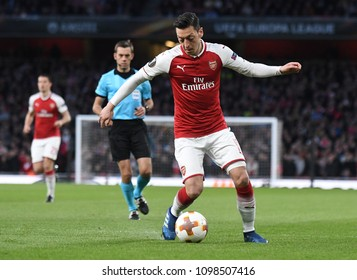 LONDON, UK - 26 APRIL, 2018: Mesut Ozil pictured during the UEL Semi-final between Arsenal FC and Atletico Madrid held at Emirates Stadium