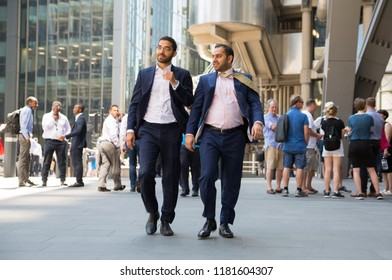 London, UK - 26 June, 2018: Business people and office workers walking next to Lloyds building in the City of London during lunch time