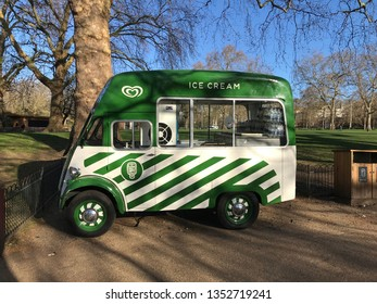 LONDON, UK - 26 MARCH 2019: ice-cream van parked in St James' park in London.