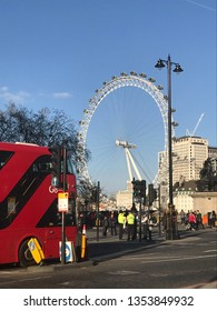 LONDON, UK - 26 MARCH 2019: View of London eye and double decker bus from Westminster Bridge Road.