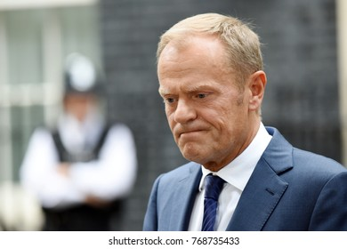 London, UK. 26 September, 2017. President of the European Council Donald Tusk meets PM Theresa May at 10 Downing Street.