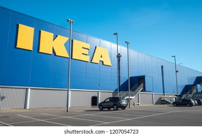 LONDON, UK - 26 SEPTEMBER 2018: The iconic yellow and blue branding on the side of the Tottenham Ikea store (North London) complimented with blue sky copy space.