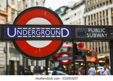 London, UK - 26.JULY.2016: Monument Station Underground Public Subway in London close up with red bus.