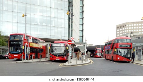 LONDON/ UK- 26th April 2019: The new red bus stand, at London bridge station, after major redevelopment of the station.