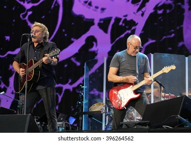 LONDON, UK, 26th June 2015: Roger Daltrey and Pete Townshend of The Who on stage at the British Summer Time concert, Hyde Park in London