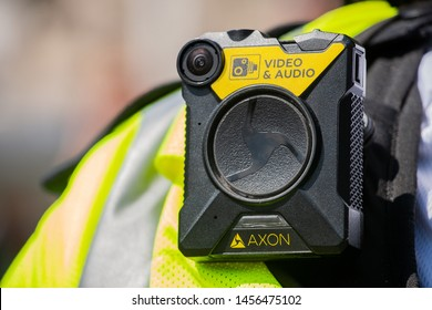 London, UK. 26th June 2019. Body camera being worn by police officers in London, to keep officers safe, enabling situation awareness, improving community relations and providing evidence for trials.