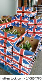 LONDON/ UK- 26th may 2016: Summer flowers being delivered to market, in union jack flag boxes.